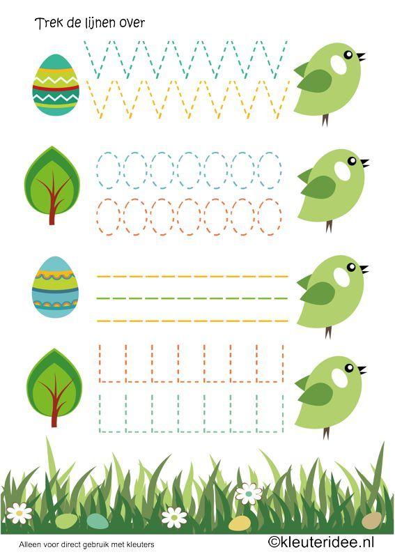 Schrijfpatroon lente vogels voor kleuters, kleuteridee.nl , spring birdy writing…