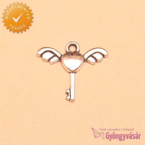 Ezüstszínű Cupido kulcsa - nikkelmentes fém zsuzsu / fityegő • Gyöngyvásár.hu