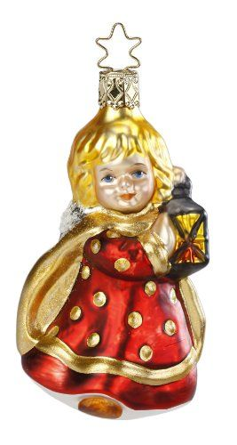 Mouth-Blown, Hand-Painted Glass Christmas ornament created by the fine artisans of Inge-Glas of Germany in 2013. ***Lantern Lady*** features the TradeMarked Sta