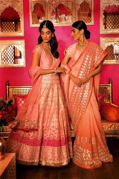 Sister of the Bride - Peach Floor-length Anarkali with Silver Work and a Peach and Silver Saree | WedMeGood #wedmegood #anarkali #saree #sisterofthebride #indianbride #indianwedding #bridal #lehengas