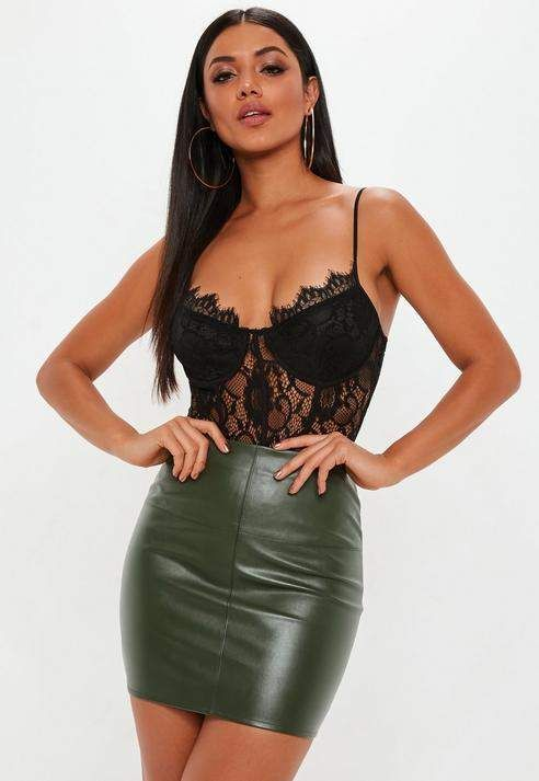 ccb07fb1ed Khaki Faux Leather Mini Skirt in 2019   Outfits for my wife ...