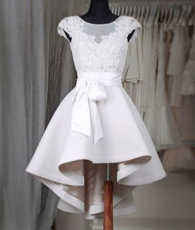 Sexy Prom Dress,Prom Dress,Simple white lace short prom dress,High low homecoming dresses,homecoming dresses from OKProm