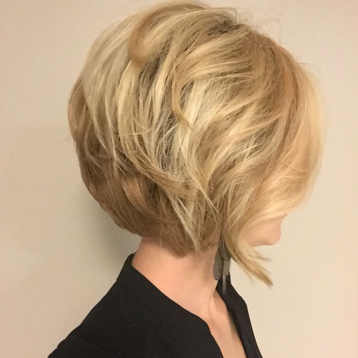 Blonde inverted stacked bob hairstyle