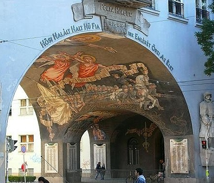 Mural on an arch in Szeged, Hungary.