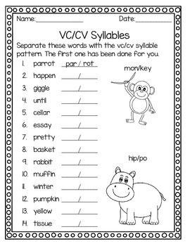 syllable patterns v cv vc v and vc cv no prep worksheets best syllable and worksheets ideas. Black Bedroom Furniture Sets. Home Design Ideas
