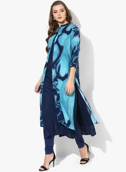 Shree Women Blue Printed Double Layered Straight Kurta