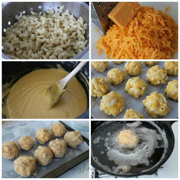 Fried Macaroni and Cheese Bites 1 lb Macaroni 2 (8 oz) Packages of Sharp Cheddar Cheese Chunk 1 1/4 cup Milk 1/2 cup Flour 1/4 cup Butter 2 Eggs 3 cup Seasoned Bread Crumbs Salt & Pepper to taste Vegetable Oil (for frying)