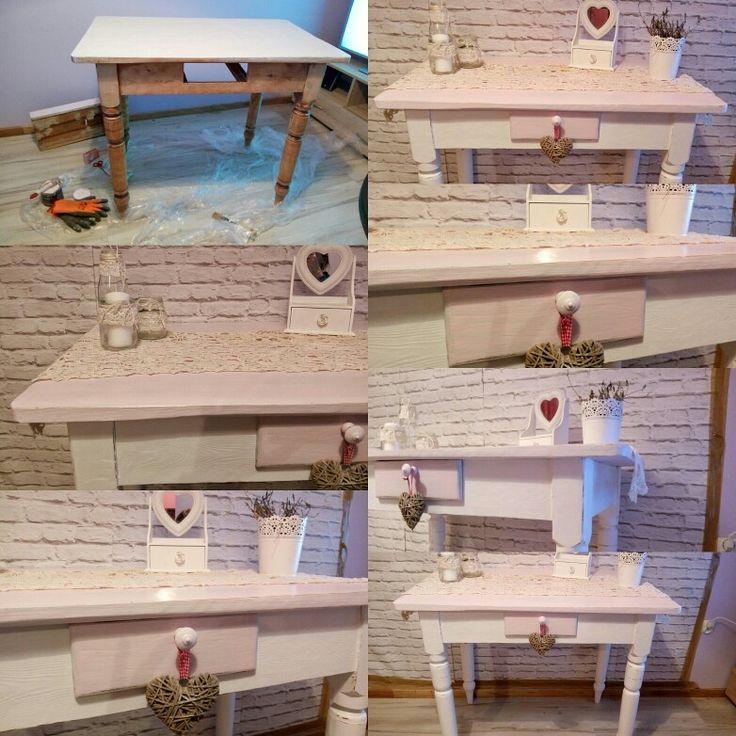 Stary stół ludowy - przemiana w piekny unikalny stół w stylu shabby chic. Zapraszam na moje aukcje link w opisie