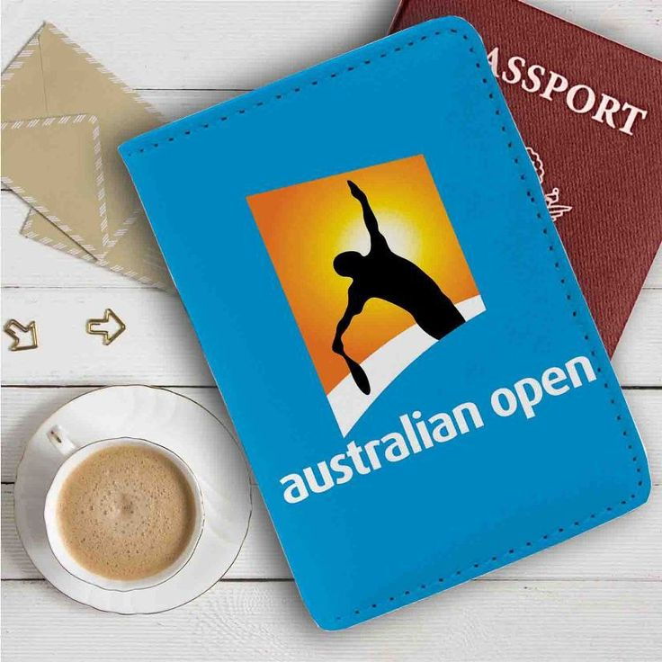 Australia Open Leather Passport Wallet Case Cover