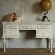 Beau One Of A Kind Vintage Desk Carved White From @Layla Grayce #laylagrayce  #vintage