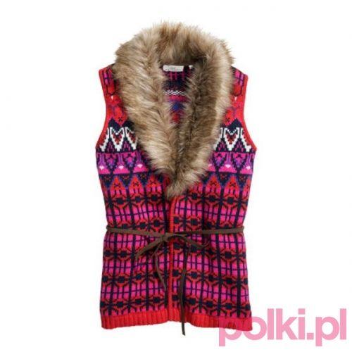 Czerwona kamizelka H&M #polkipl