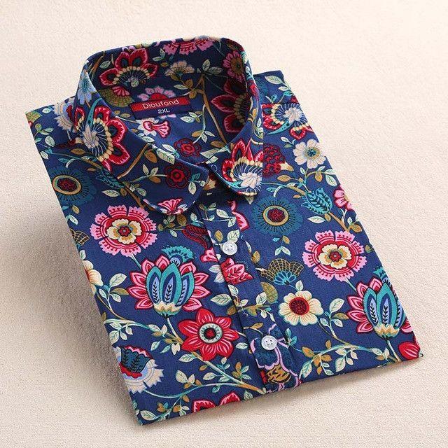 2017 Floral Women Blouses Long Sleeve Shirt Cotton Women Shirts Cherry Casual Ladies Tops Animal Print Blouse Plus Size 5XL