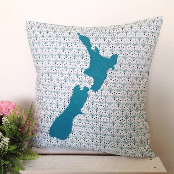 Cushion cover - Posies | Teal New Zealand Map