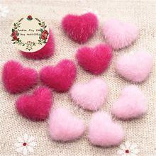 17 мм 50 шт. розовый/ярко-розовый волосатые бархат ткани покрыты кнопку сердце Flatback DIY украшения пуговицы скрапбукинга, BK1030(China)