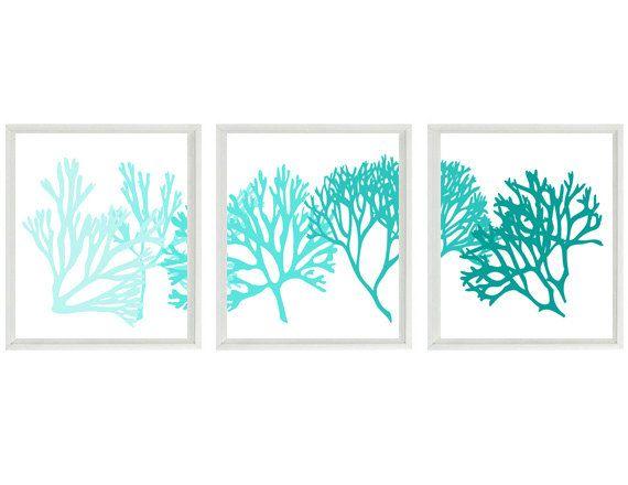 Coral art print set aqua teal blue white silhouette for Teal wall art