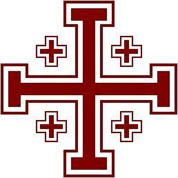 Cruz de Jerusalén, también conocida como la Cruz de los Cruzados, un diseño que apareció con los nobles durante la primera Cruzada y se suponía que les proporcione la protección divina en la Tierra Santa. Cuenta con 5 cruces, 1 grande y 4 pequeños, que se dice que representa a Jesús y los 4 evangelistas, así como las 5 heridas sufridas por Jesús en la cruz.