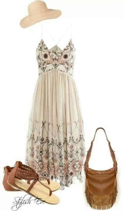 Hippie chic. I want this dress!! And the shoes. And the purse.