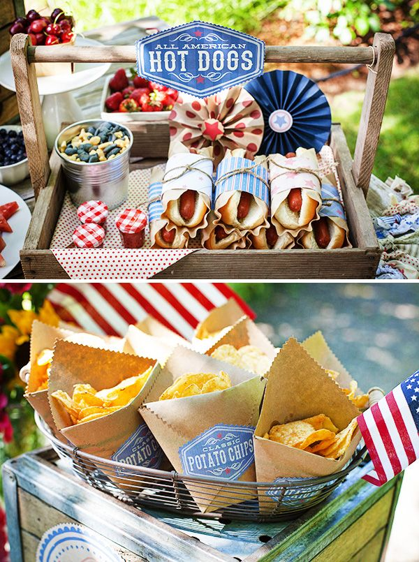 Vintage Americana 4th of July Party by Lisa Frank + Lia Griffith: hot dogs wrapped in brown coffee filters/patterned papers/twine with mini gingham jars of ketchup || kraft paper chip bags: tutorial at liagriffith.com