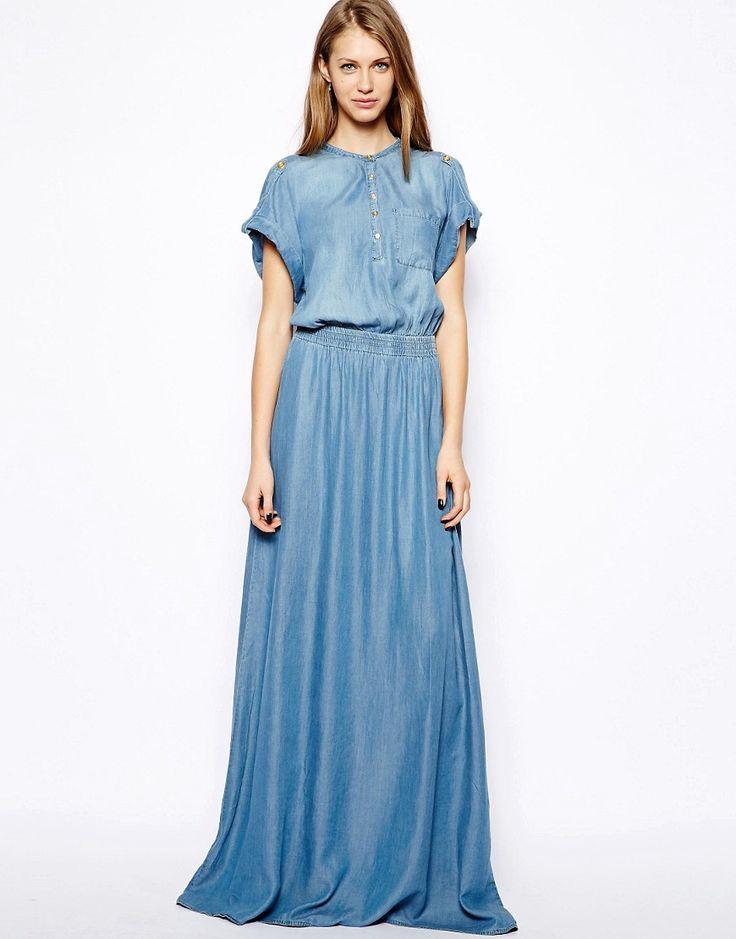 Denim Blue Maxi Dress | Dresscab
