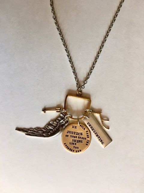Tamar was a woman of great courage and valor. She fought for the  inheritance that was rightfully hers.   If you've experienced injustice and are holding onto promises, relate to  Tamar by wearing this necklace:   Breakthrough is coming (arrow). You are protected (wing). Referencing Psalm  34