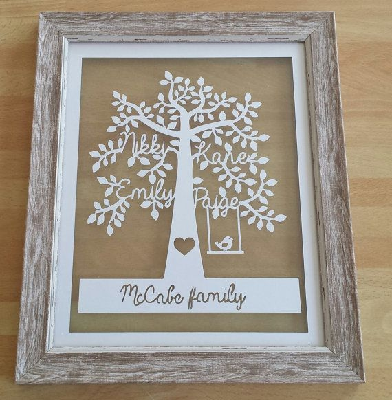 Check out this item in my Etsy shop https://www.etsy.com/uk/listing/239305126/personalised-family-tree-paper-cut