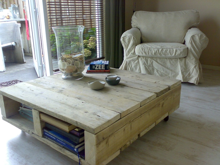 Love this homemade coffee table. We plan on building one to match our living room!