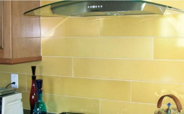 Yellow Glass Tile Subway Backsplash | dining | kitchen