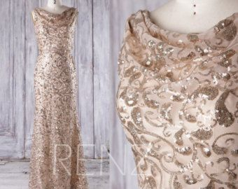 2016 Long Gold Sequin Bridesmaid dress Cap Sleeve by RenzRags