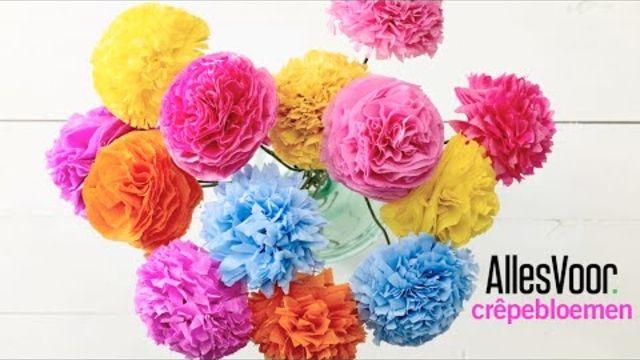 DIY: papieren bloemen knutselen van crêpepapier. - Instructies - Weethetsnel.nl