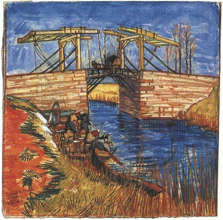 Vincent van Gogh El puente Langlois de Arles  Watercolor
