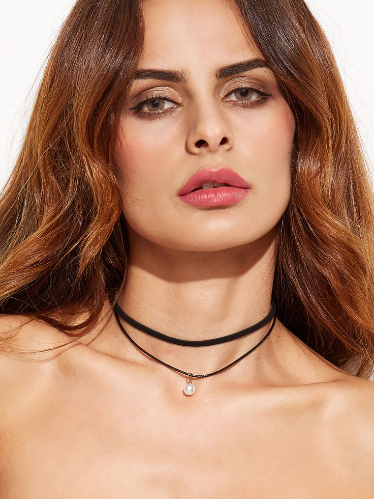 Black Layered Faux Pearl Choker Necklace — 0.00 € ---------------color: Black size: None
