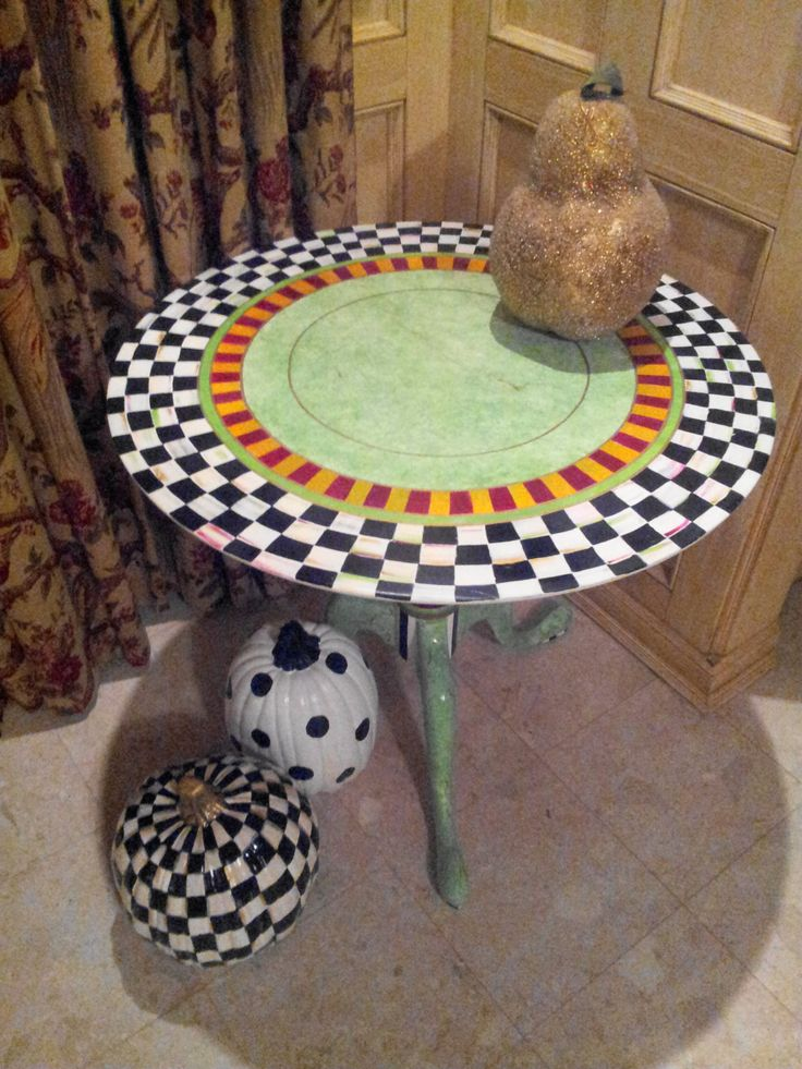 Mackenzie Childs Inspired Courtly Check Accent Table   Hand Painted  Decorative Table Courtly Check   Accent