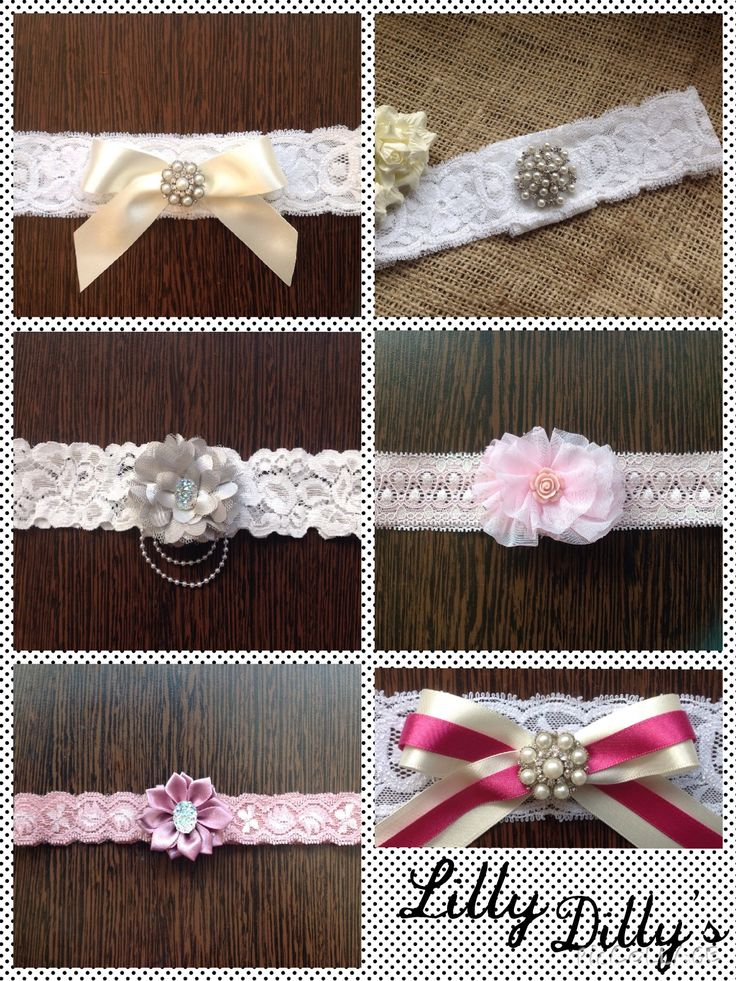 Lilly Dilly's handmade bespoke garters #wedding #lace #garter #bespoke #handmade #ribbon #bow #flower #pearl #diamante #bride
