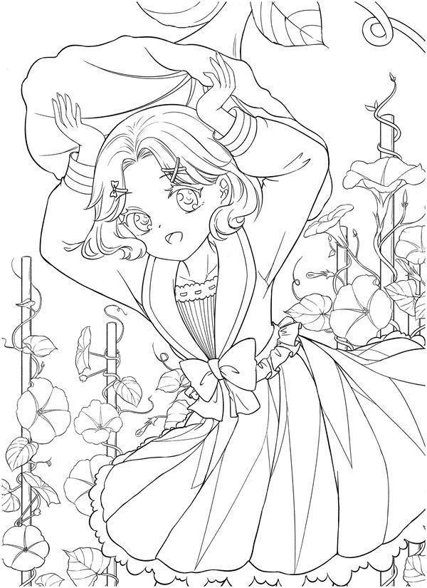 Download Tatacat Flower Fairy Dress Coloring Book PDF - Printable HD  Manga Coloring Book, Cute Coloring Pages, Coloring Book Art
