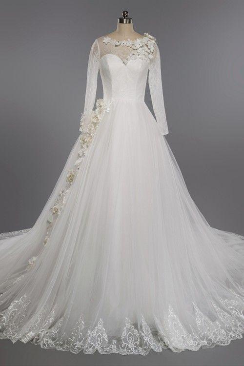 A-line Sheer Chapel Train Tulle Long Sleeves Wedding Dress