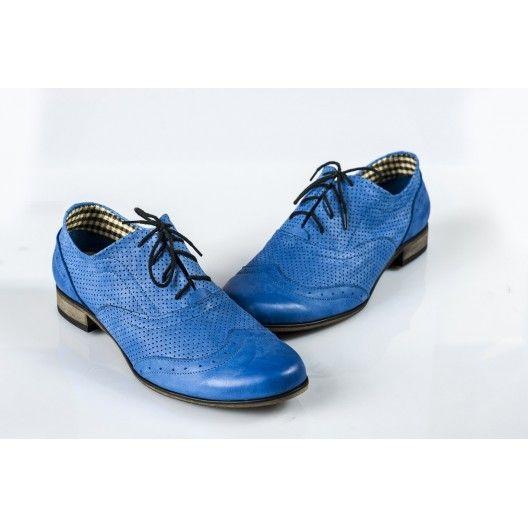 Női bőr gyaloglást perforált blue DT233 - manozo.hu