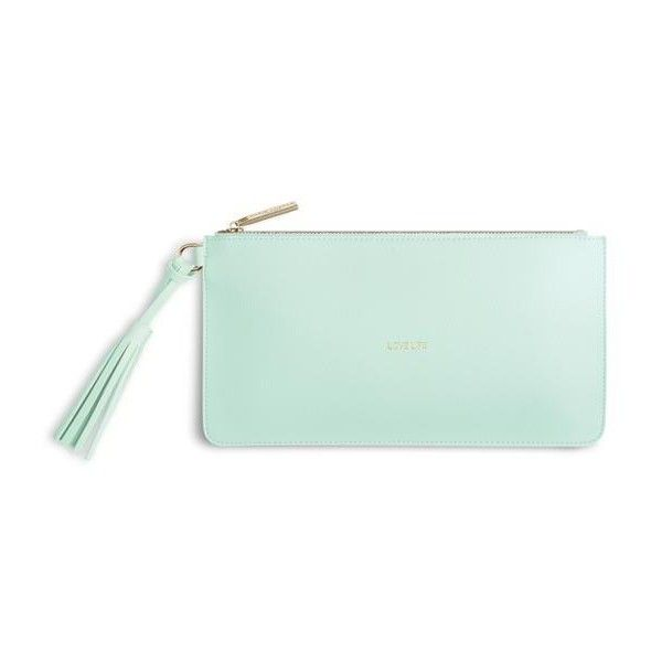 Florrie Tassel Clutch Mint ($28) ❤ liked on Polyvore featuring bags, handbags, clutches, faux leather purses, tassel clutches, vegan leather purses, tassel purse and green handbags