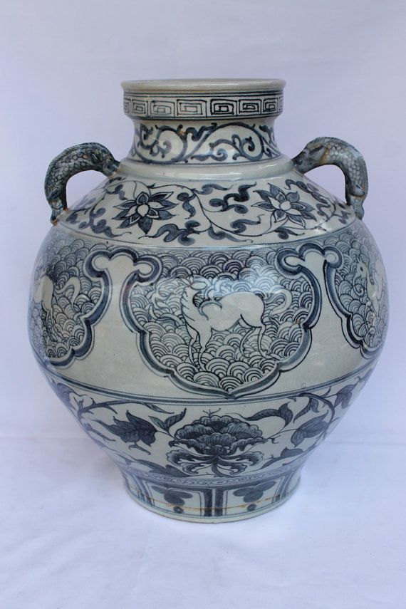 Beautiful Chinese Antique porcelain Vase Early Ming Dynasty Fish Handles China