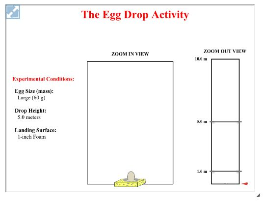 the egg drop interactive provides a virtual egg drop activity learners can vary the mass of the. Black Bedroom Furniture Sets. Home Design Ideas