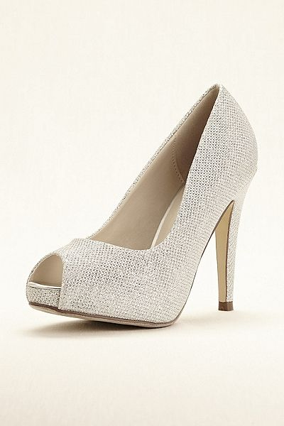 Mesh Overlay Glitter Peep Toe Wedding & Bridesmaid Platform Pumps by Pink  Paradox - Silver, Women's