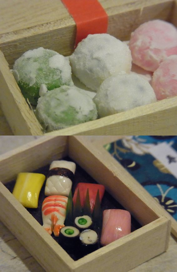 大福におすし、大福の粉は本物の片栗粉 お寿司の海苔は最上級