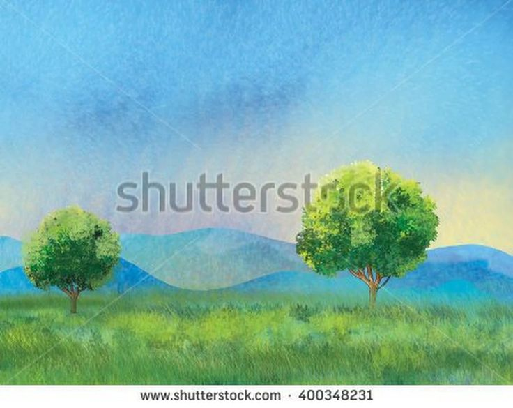 Tree on a green meadow and light blue sky, Summer Holiday landscape, Green tree, green grass, sky. Digital drawing. For Art, Print, Scrapbook, Web design. World environment day.