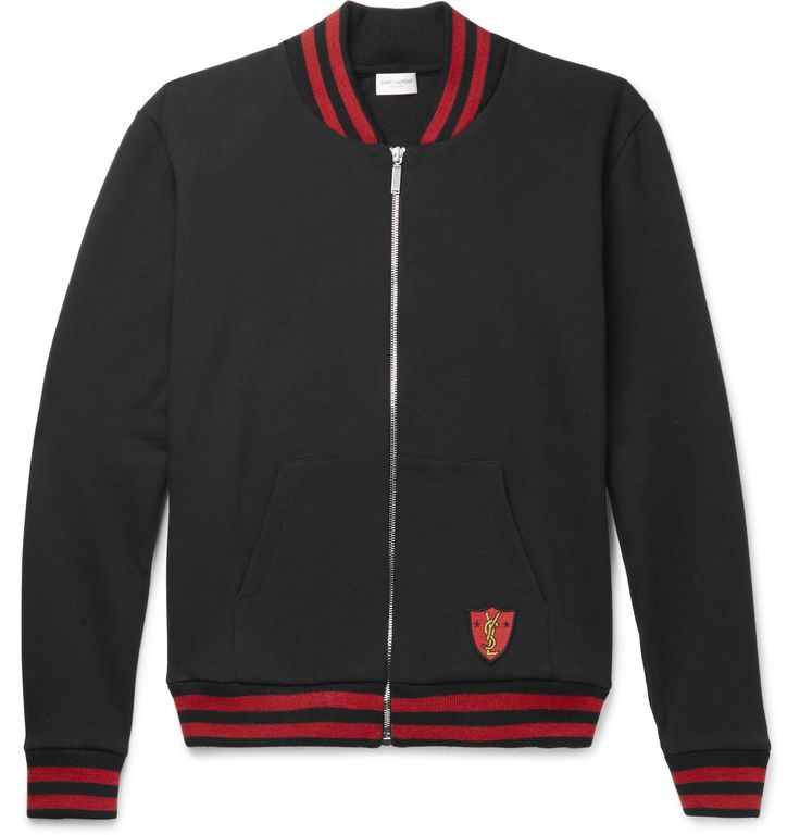 Parisian label <a href='http://www.mrporter.com/mens/Designers/Saint_Laurent'>Saint Laurent</a> often looks to Americana classics for design inspiration, and this zip-through sweatshirt is based on a varsity jacket. Cut from soft loopback cotton-jersey, it's decorated with an embroidered designer crest and finished with striped ribbed-knit trims. Wear yours over a crew-neck tee and jeans.