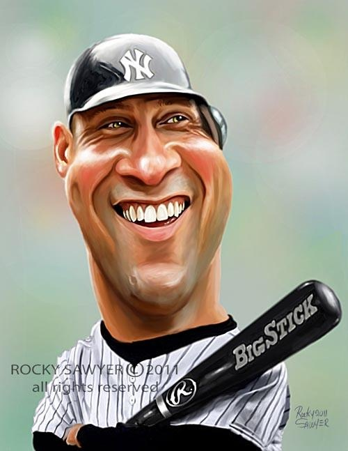 Derek Jeter FOLLOW THIS BOARD FOR GREAT CARICATURES OR ANY OF OUR OTHER CARICATURE BOARDS. WE HAVE A FEW SEPERATED BY THINGS LIKE ACTORS, MUSICIANS, POLITICS. SPORTS AND MORE...CHECK 'EM OUT!! Anthony Contorno Sr