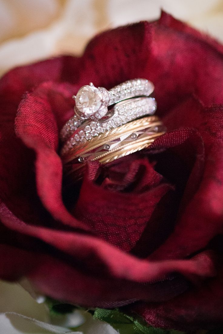 Wedding bands and engagement ring #marsala #charm #customband