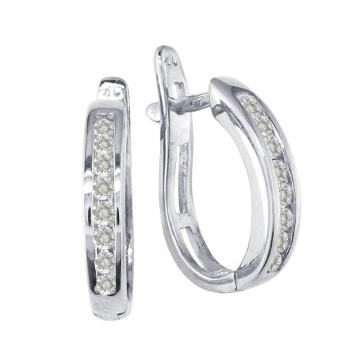 Practical has a new look with 1/4ct diamond hoop earrings in 10k white gold. With its flipback levers, you can easily slide them on, slide them off. Get yours today! 1/4ct means .22ct to .29ct.