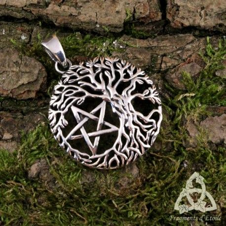 Pendentif Collier Arbre de Vie celtique païen pentacle argent massif elfique Yggdrasil médiéval bijou étoile celte 925 wicca ésotérisme mariage magie cadeau noël