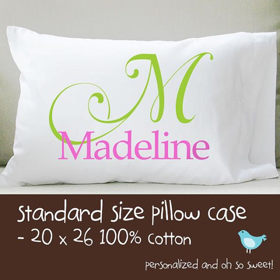 personalized monogrammed standard size pillow case by zoeysattic, $18.00