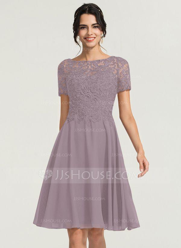 [AU$ 202.00] A-Line Scoop Neck Knee-Length Chiffon Cocktail Dress – JJ's House