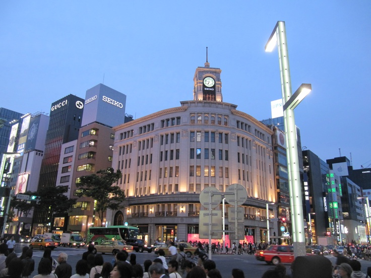 Tokyo - Ginza Wako  Built in 1932, the clock tower of the building is the symbol of Ginza.